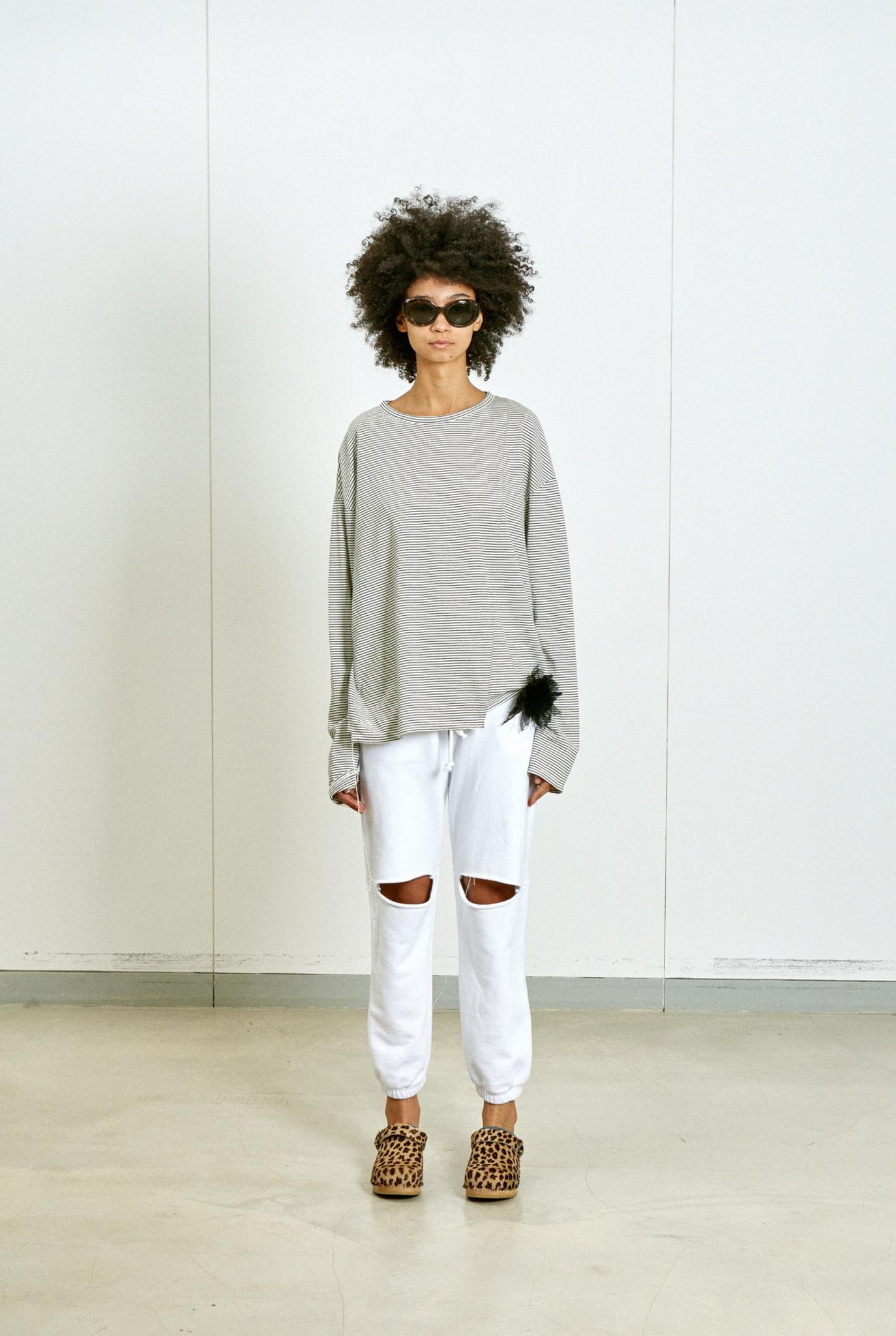 Stripe Mixed Block Longsleeve T-shirt White/Black