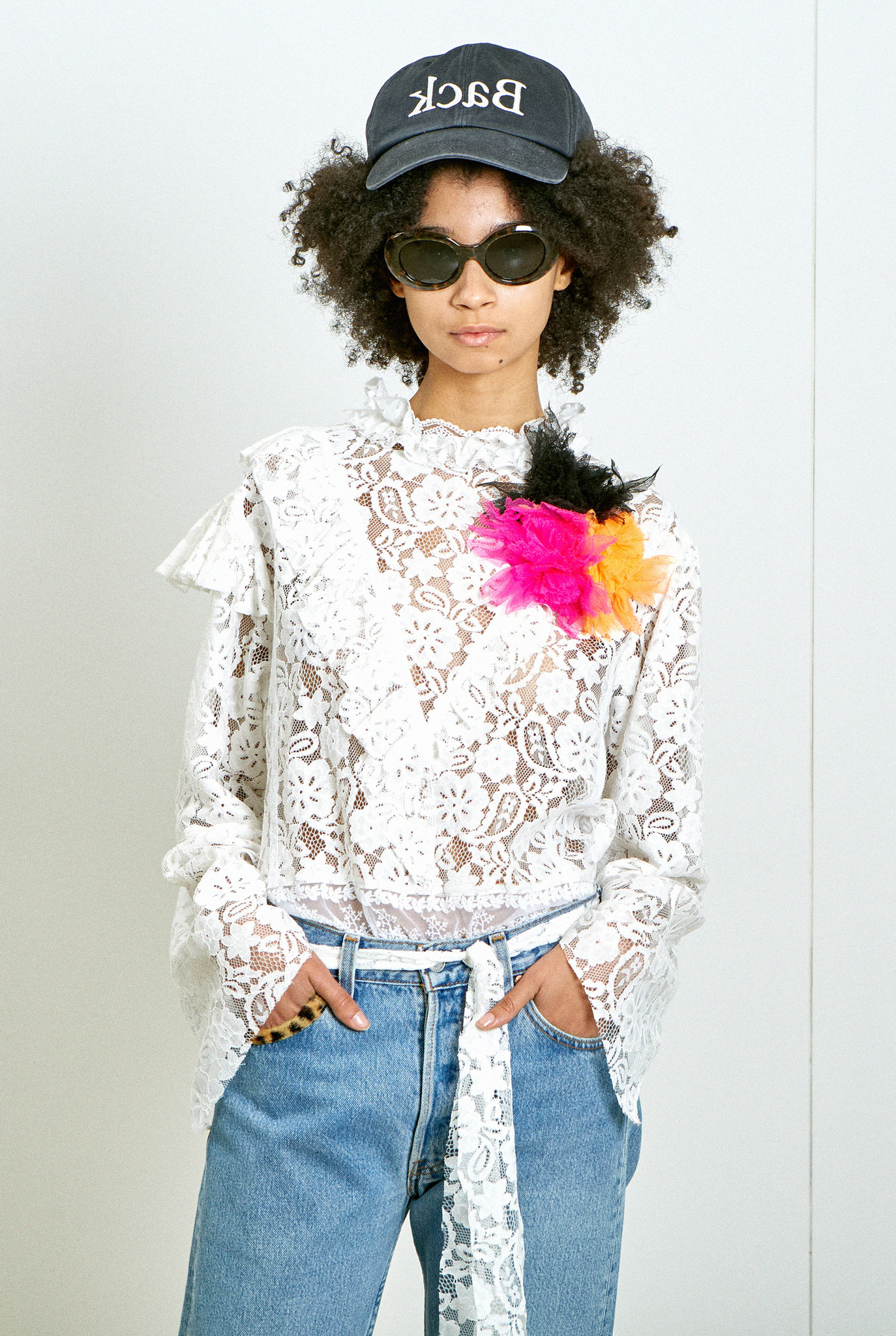 Mixed Lace Tie Blouse White