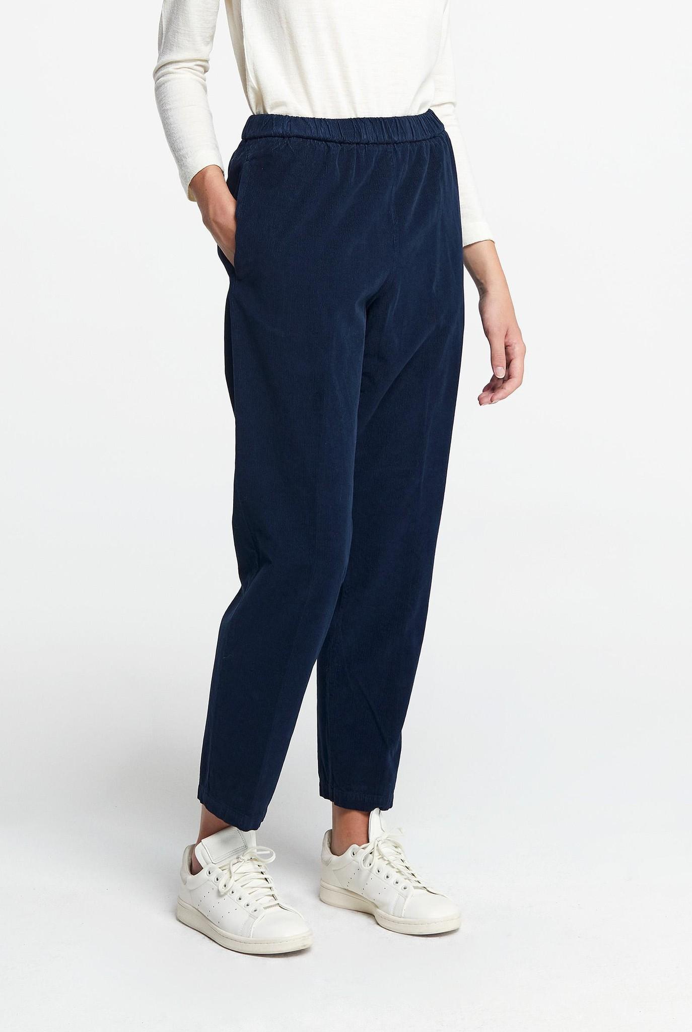 trousers elastic band navy fine corduroy