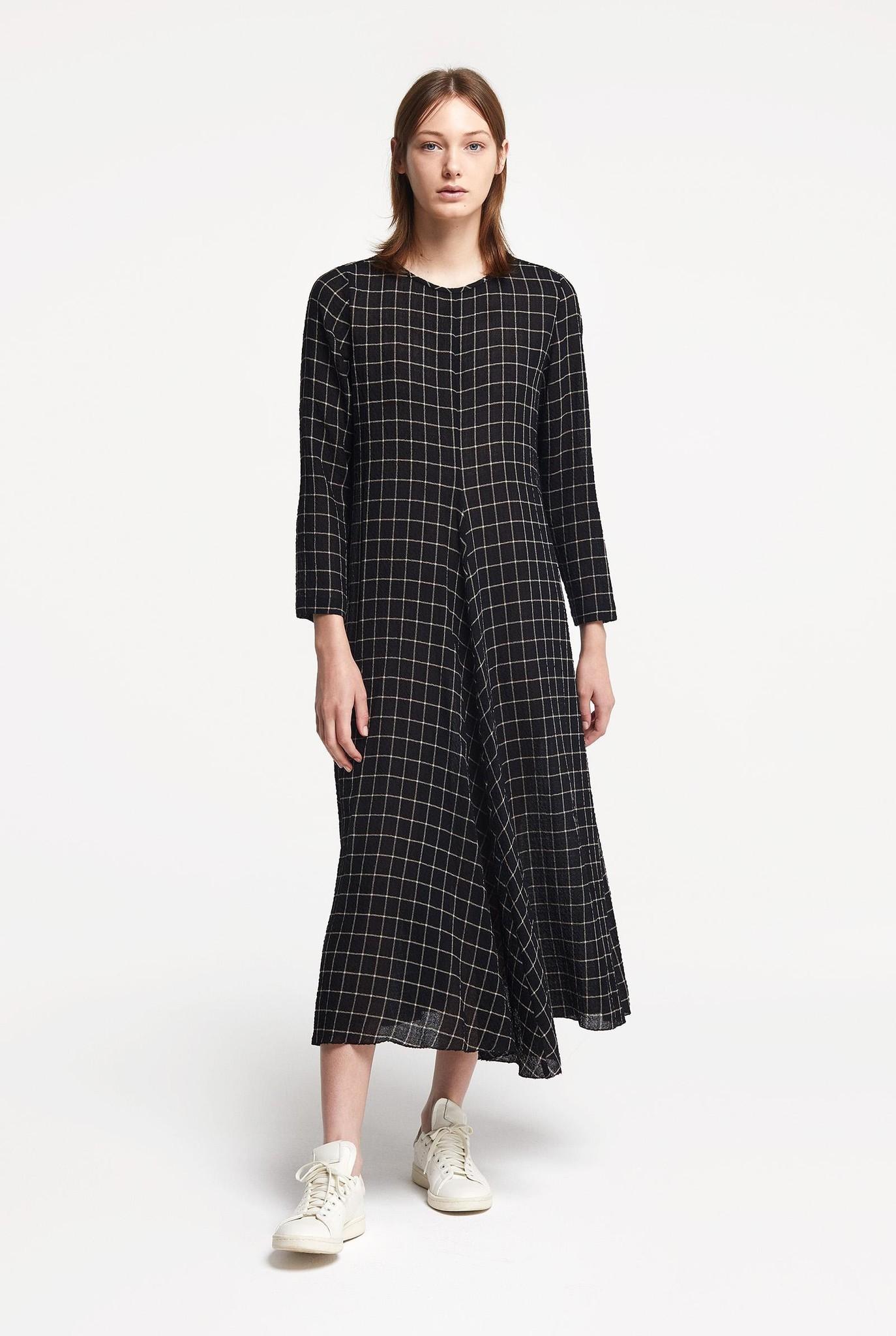 Long  dress black / beige check