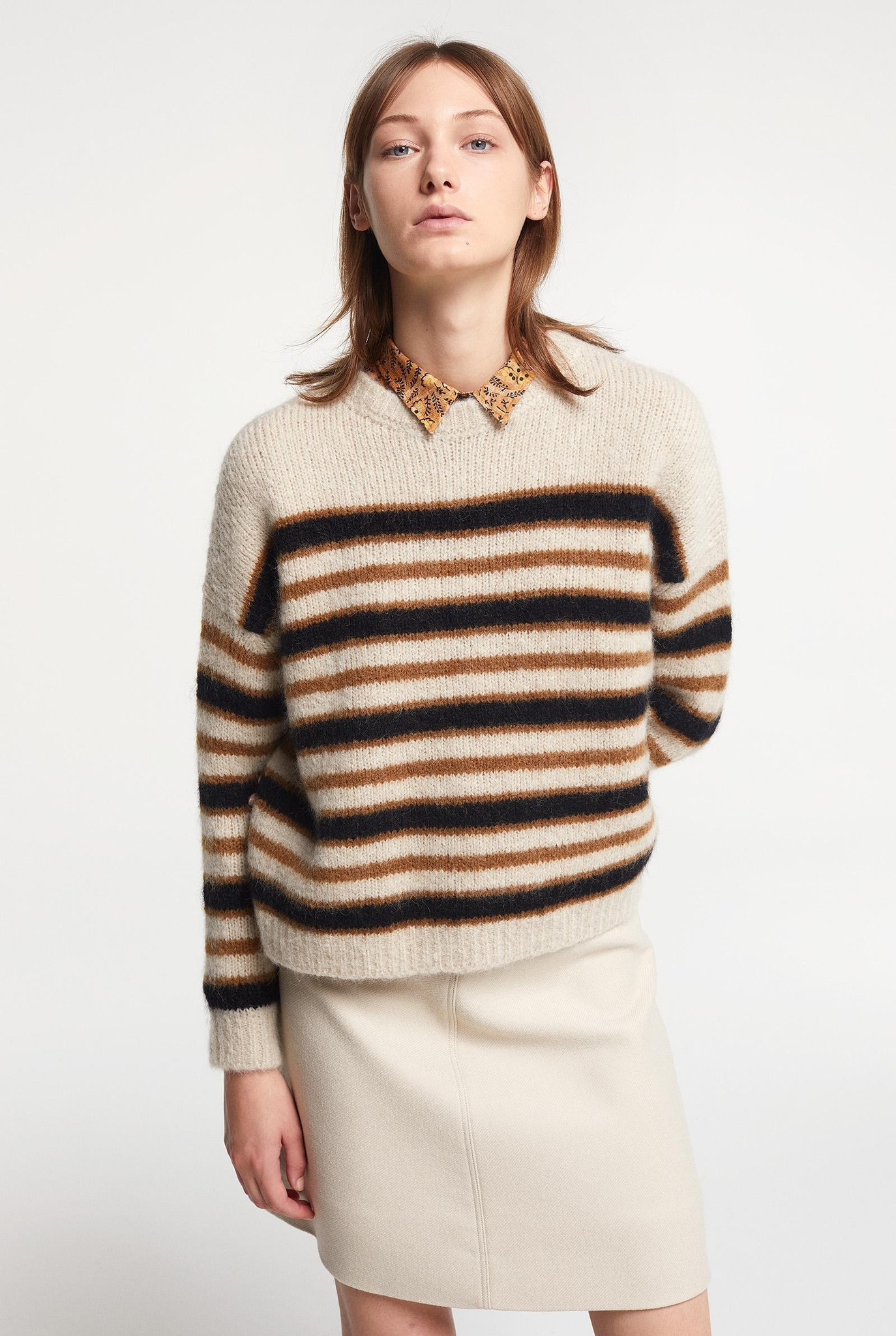 Knit Sweater Beige Stripes Brown
