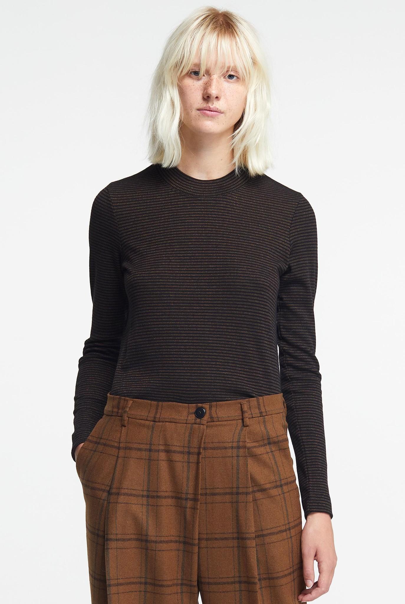 turtleneck top black/bronze stripe