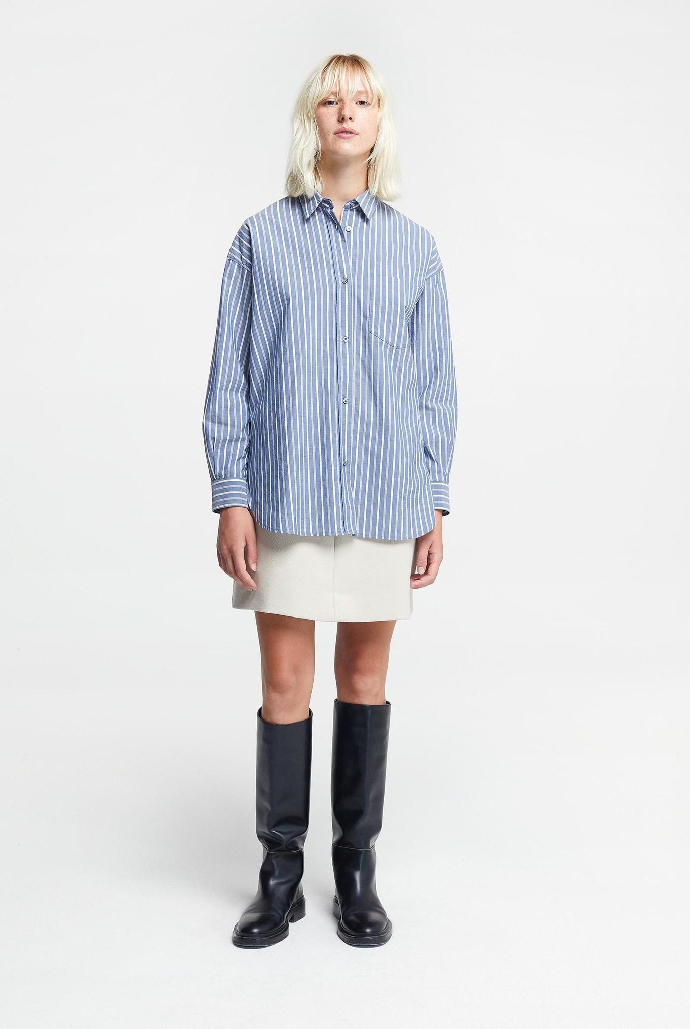 oversized blouse blue / white stripes
