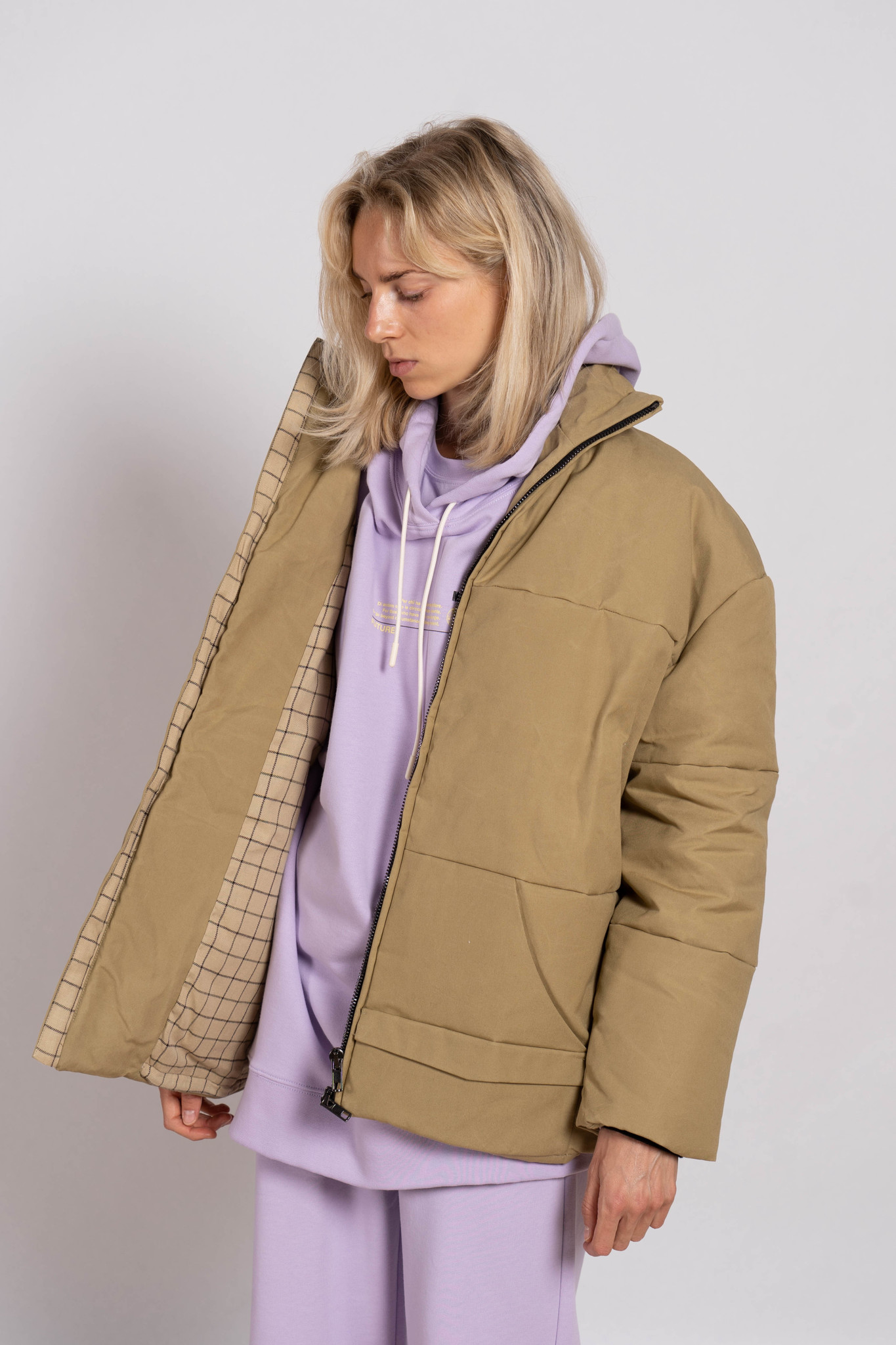 Unisex puffed jacket 'Aspen' ranger beige