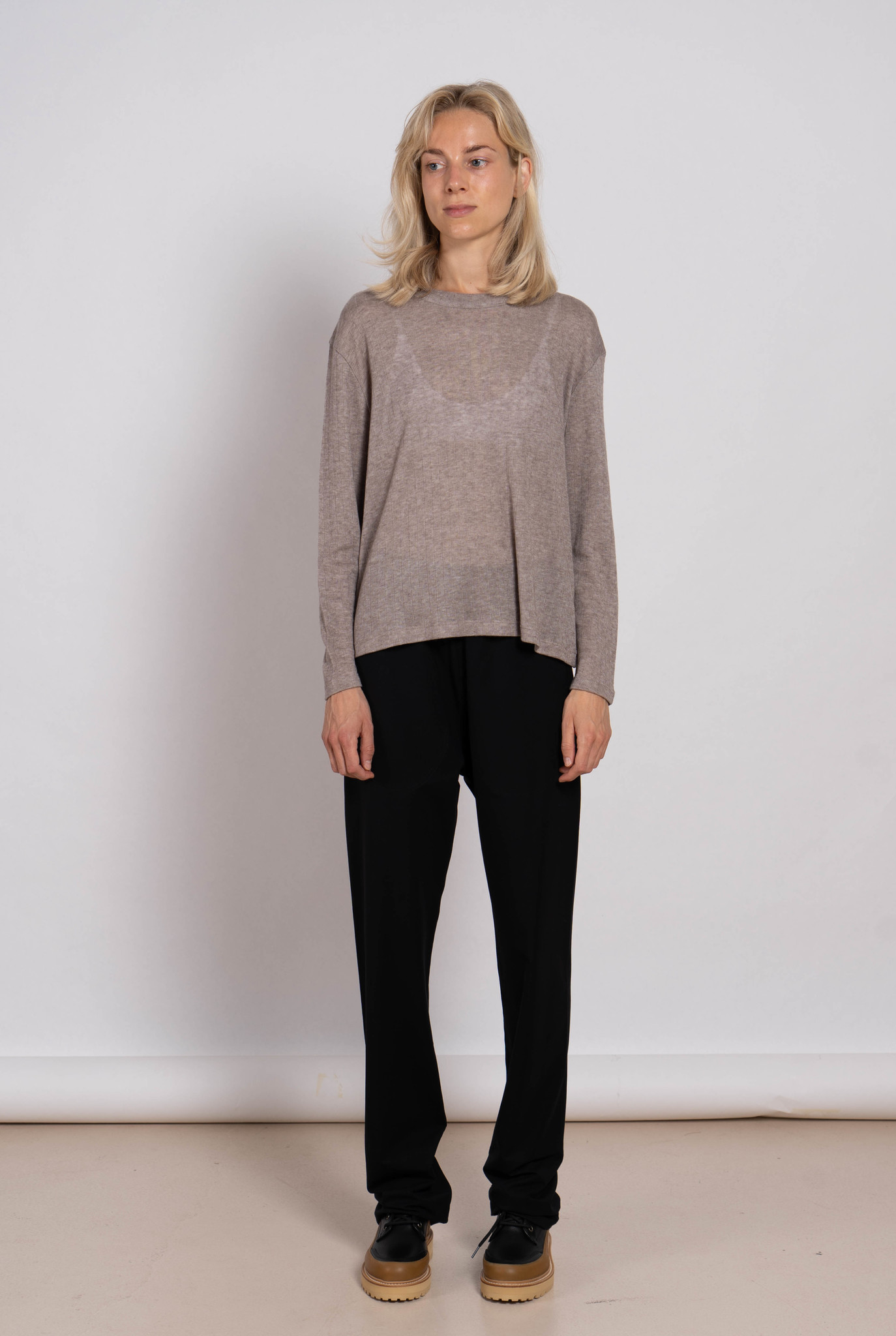 Relaxed T-shirt L/S Adagoi Brown