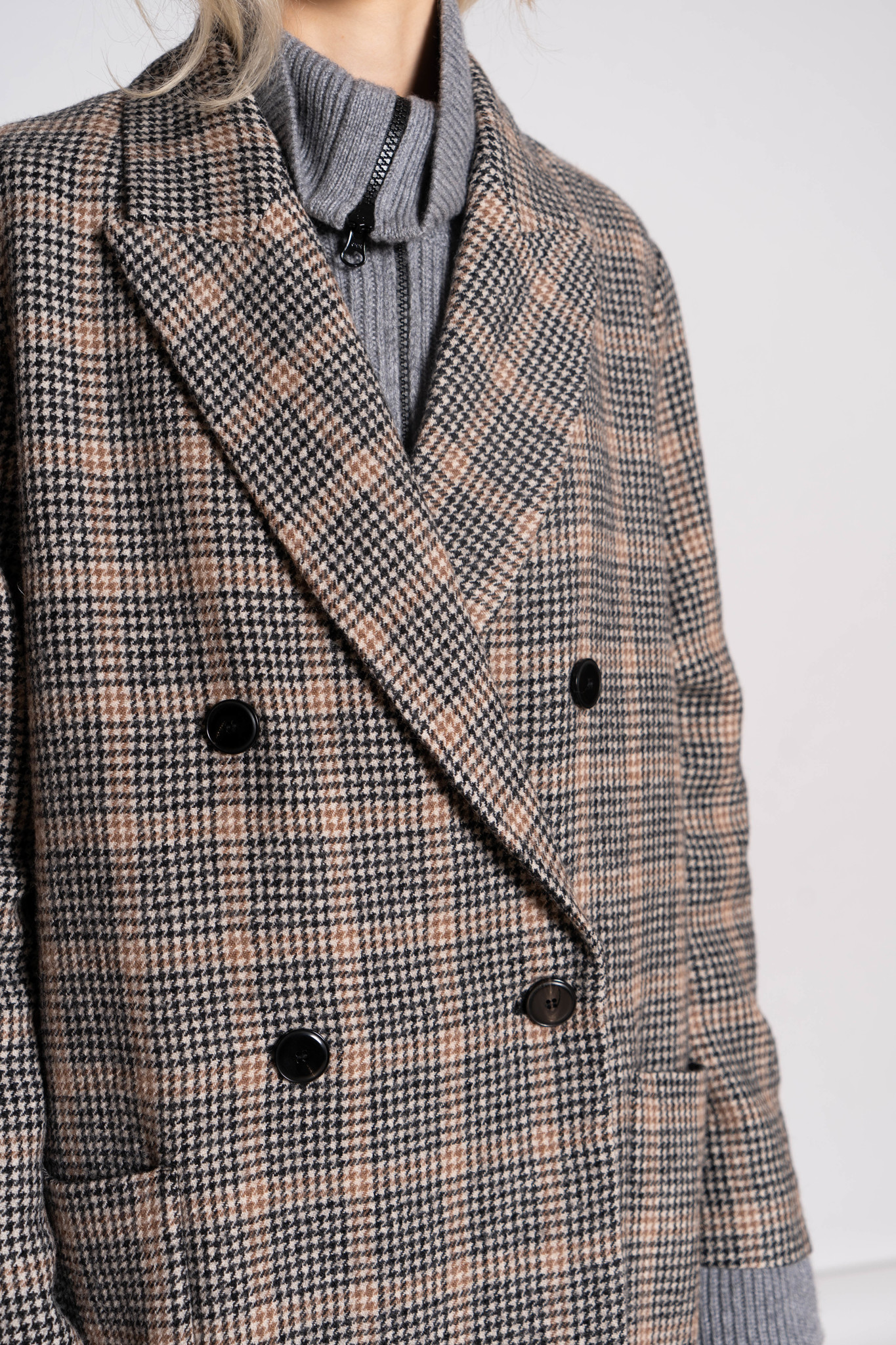 Double Breasted Coat Black Beige Check
