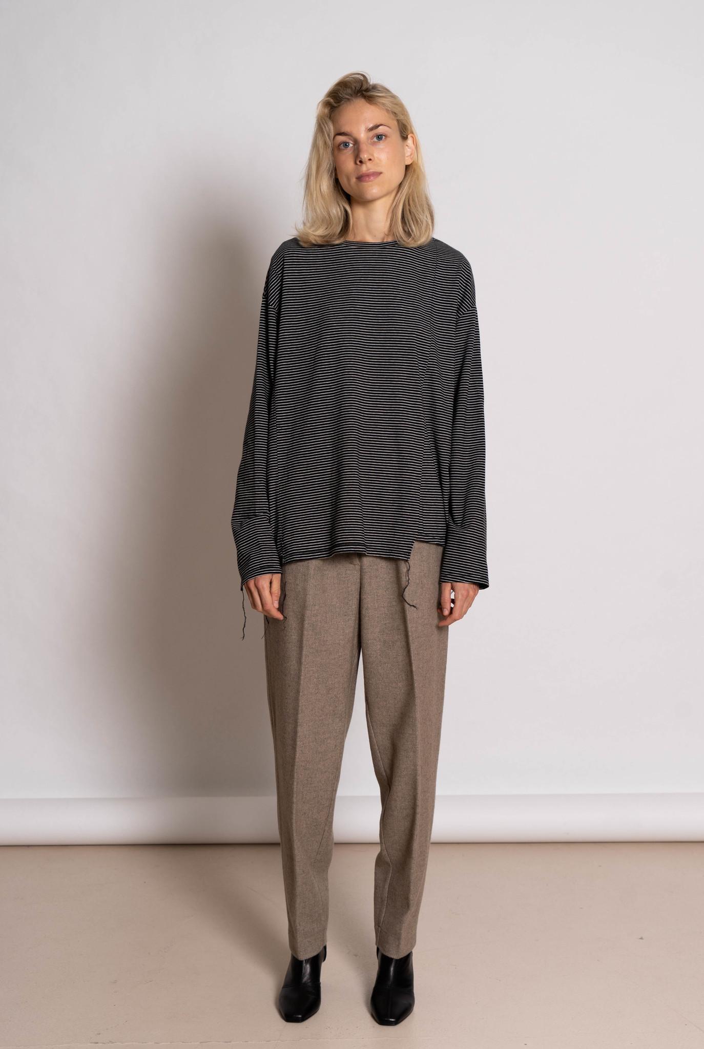 Stripe Mixed Block Longsleeve T-shirt Black/White