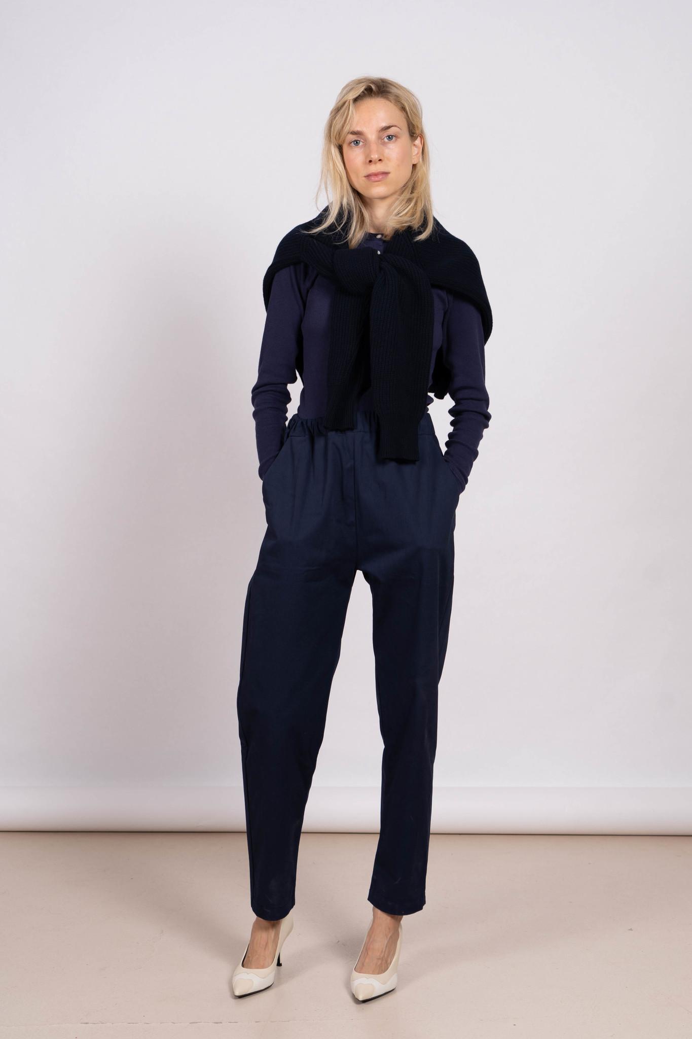 Jane Classic knitted rib sweater Navy