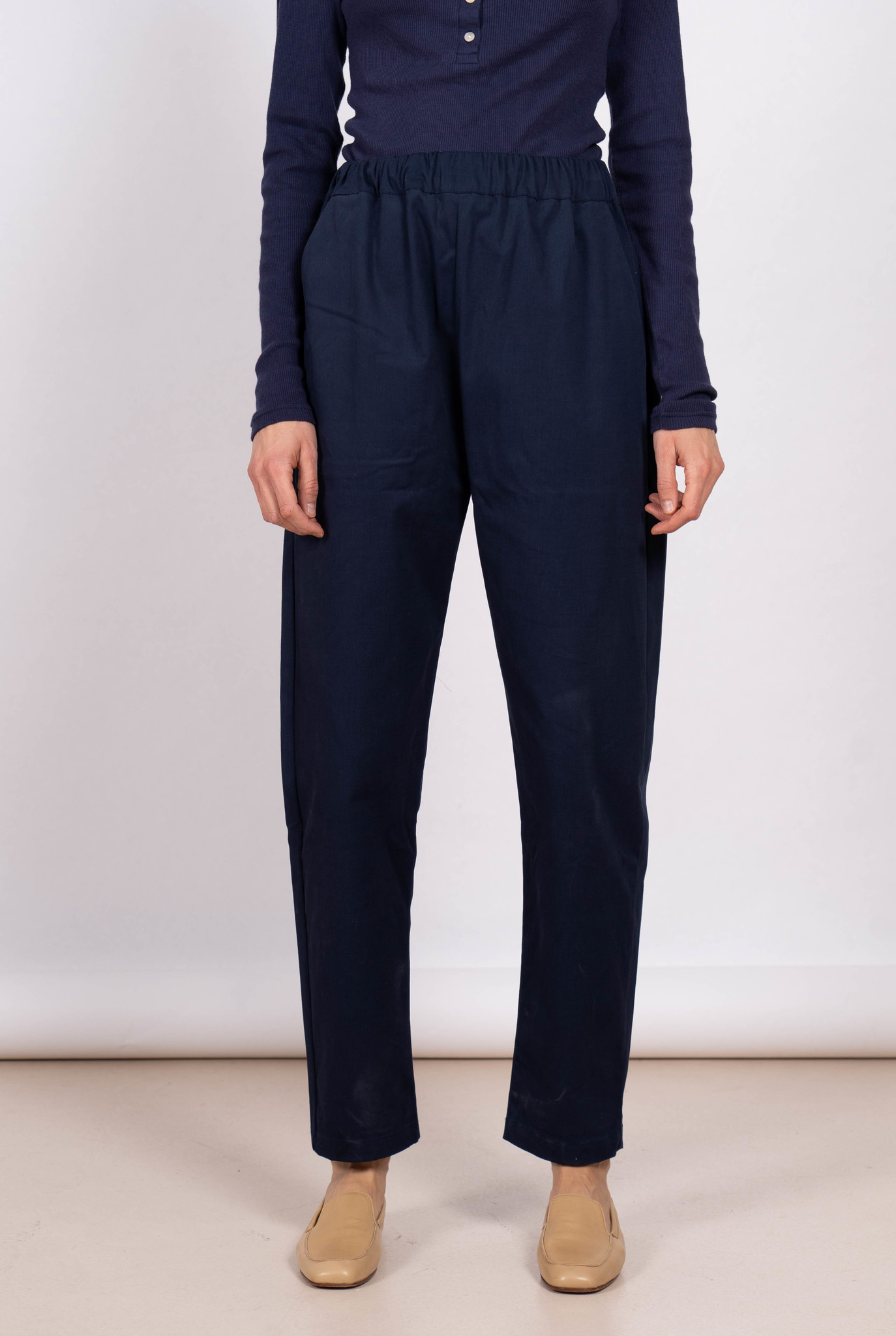 Paul Heavy cotton relaxed trouser Navy