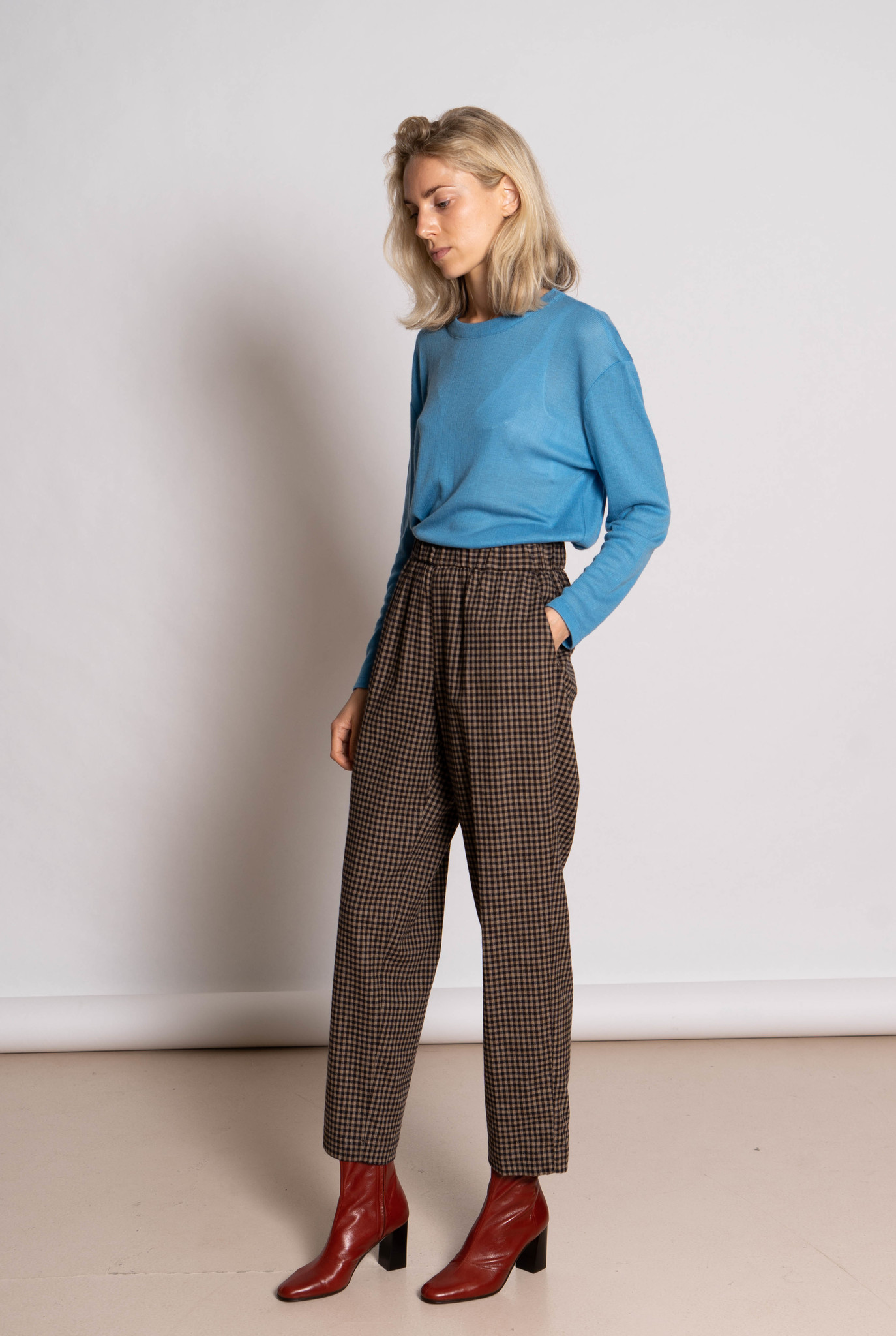 trousers elastic band taupe/black check