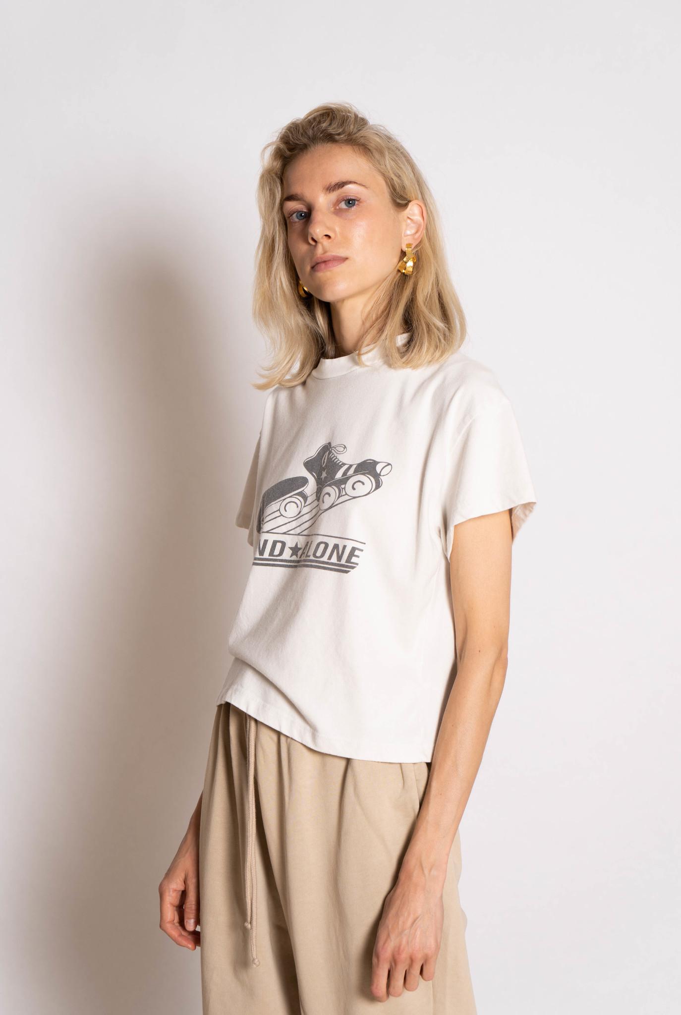 Cropped Retro Skateboard T-shirt Light Grey