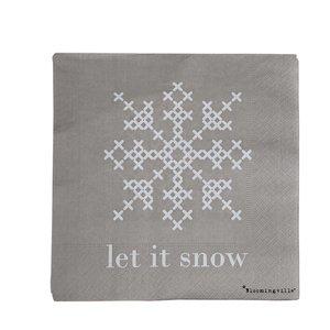 Bloomingville Papieren servetten 'Let It Snow' pak van 20