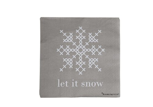 Bloomingville Papieren servetten 'Let It Snow' pak van 20