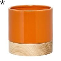 Bloempot oranje/essenhout