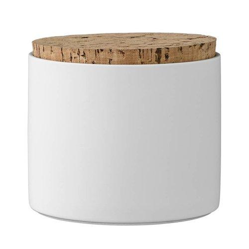 Bloomingville Voorraadpot met deksel wit Ø11xH11,8 cm