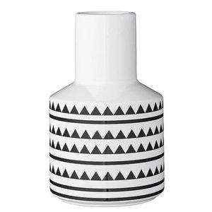 Bloomingville Vaas driehoeken en lijnen wit/zwart