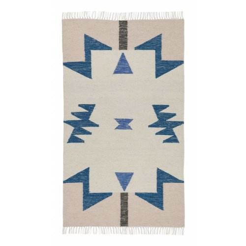 Ferm Living Blue triangles kelim tapijt small