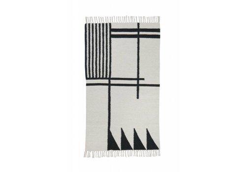Ferm Living Kelim tapijt - black lines - small 80 x 140 cm