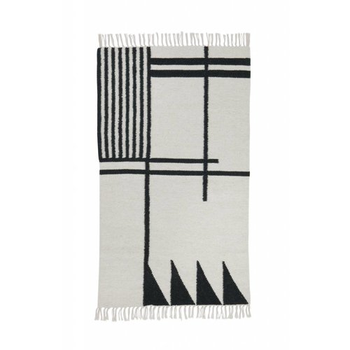 Ferm Living Black lines kelim tapijt small