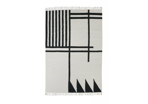 Ferm Living Kelim tapijt - black lines - large 140 x 200 cm