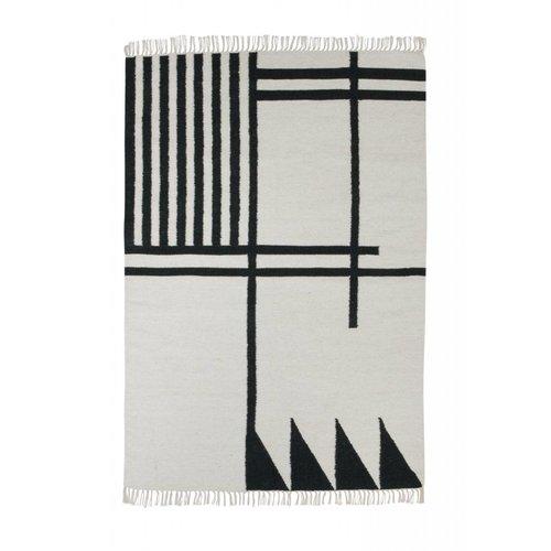 Ferm Living Black lines kelim tapijt large