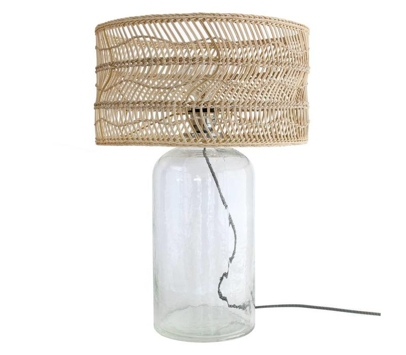 Fles tafellamp met rieten kap