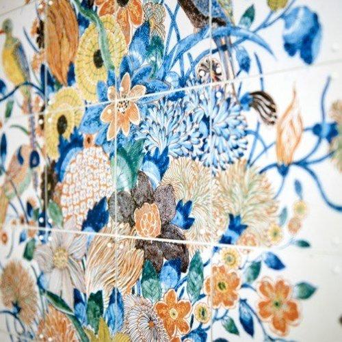 IXXI IXXI Wanddecoratie - Tile panel with Flowers - 112 x 196 cm
