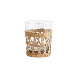 HK Living Drinkglas met rieten handvat (6 stuks)