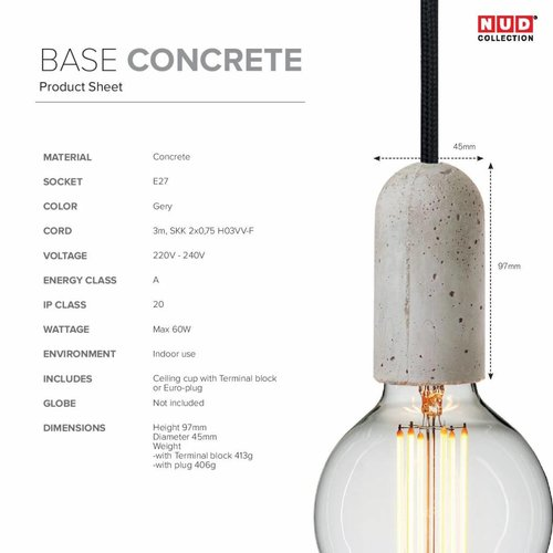 Nud Collection Socket Base - beton