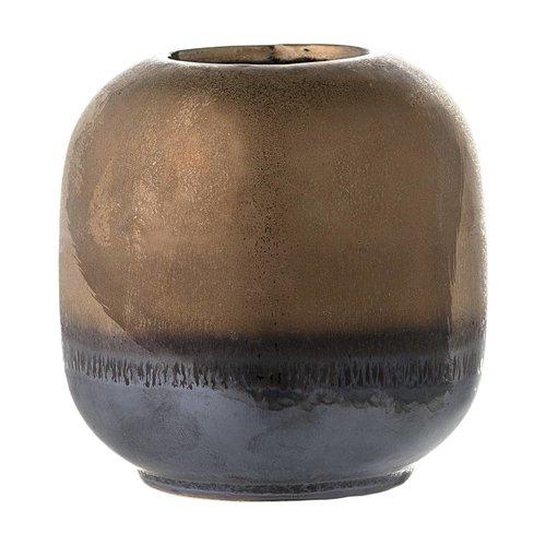 Bloomingville Bronzen stenen vaasje Ø 10.5 x H 10.5 cm