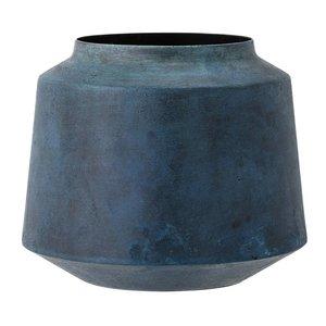 Bloomingville Vaas in blauw metaal Ø 17 x h 15 cm