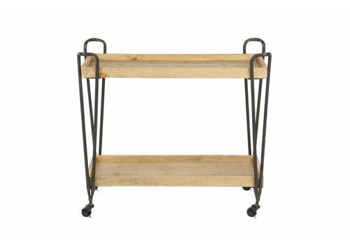 WOOOD Zoé metalen trolley met houten planken