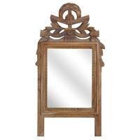 Handgesneden teakhouten spiegel