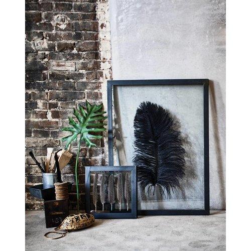 HK Living Metalen kunstframe met glas en struisvogelveer