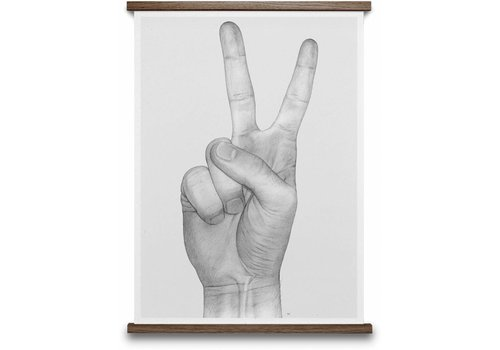 Paper Collective V Hands poster Grey 50x70cm