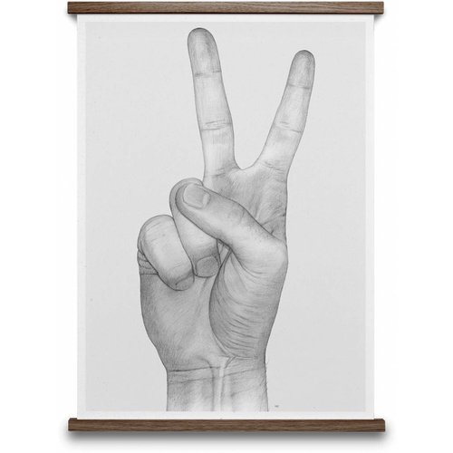 Paper Collective V Hands poster Grey 50x70