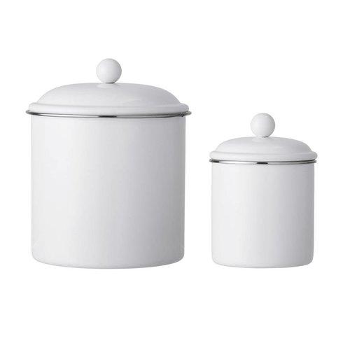 Bloomingville Set van 2 voorraadpotten wit metaal