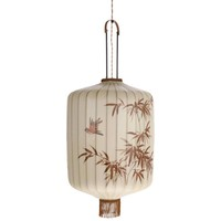 Traditionele stoffen lantaarn hanglamp crème in XL