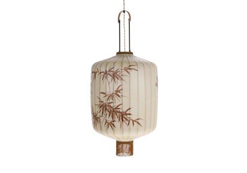 HK Living Traditionele stoffen lantaarn hanglamp crème in L