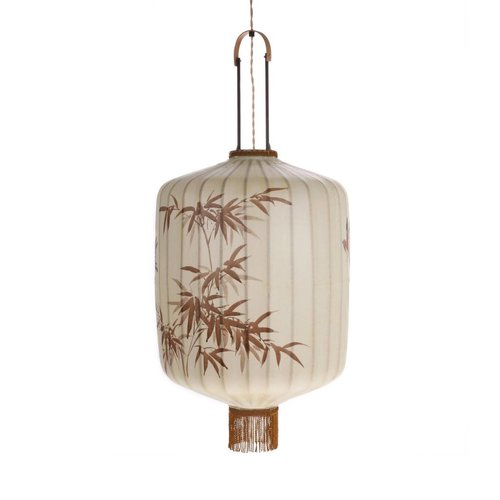 HK Living Traditionele stoffen lantaarn hanglamp crème in L