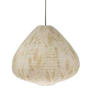 HK Living Stoffen lantaarn hanglamp 65cm met riet print vintage