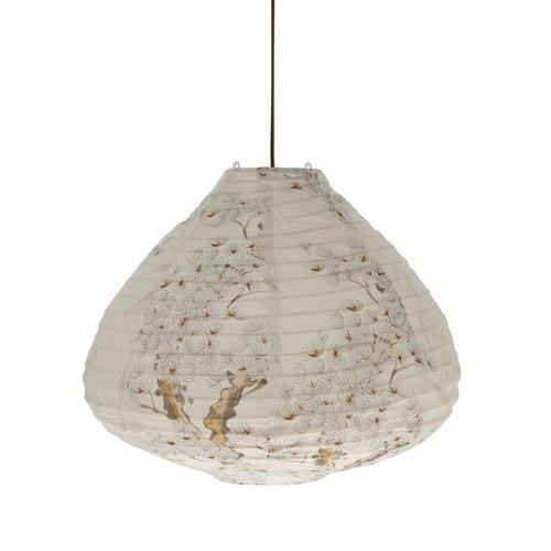 HK Living Stoffen lantaarn hanglamp met kersenboom print 50cm