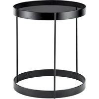 Drum bijzettafel grijs glas 40 cm