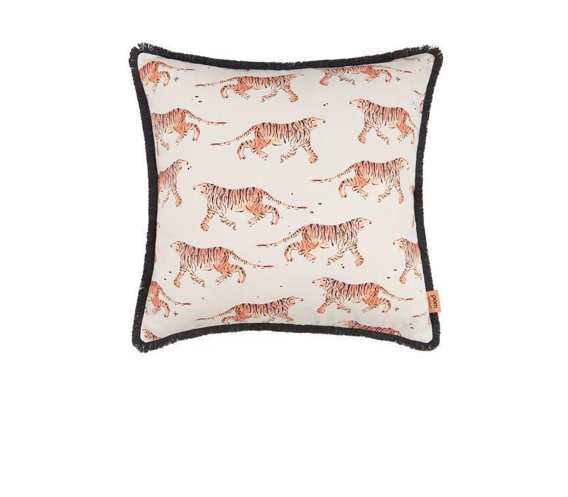 Indian Tiger kussen - koraal 50 x 50