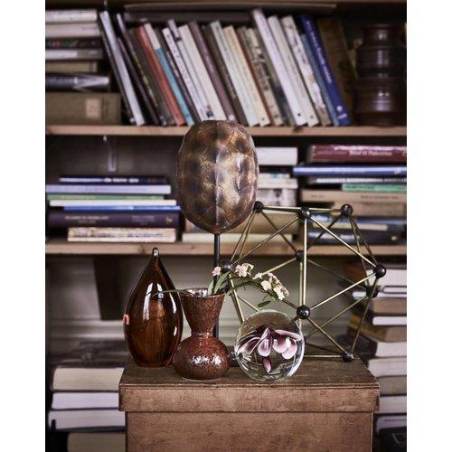 HK Living Glazen bal met bloem paars maat S