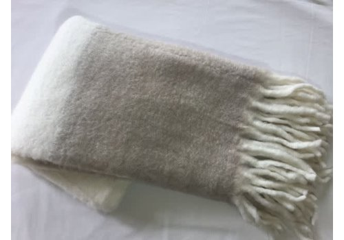 Asianmood Ivoren mohair plaid  met beige boord 130x170
