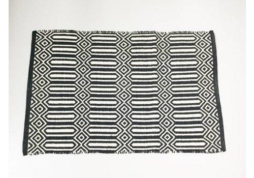 Asianmood Tapijt katoen zwart/wit M 120x180