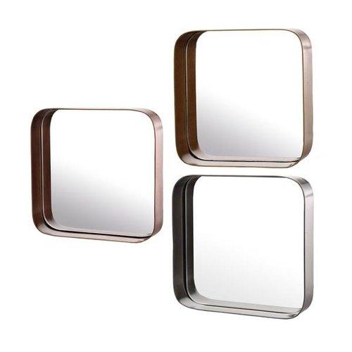 Pols Potten Metal edge vierkante spiegel - set van 3