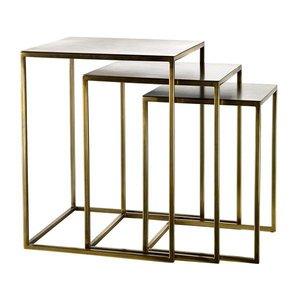 Pols Potten Frame square bijzettafels mat goud set van 3