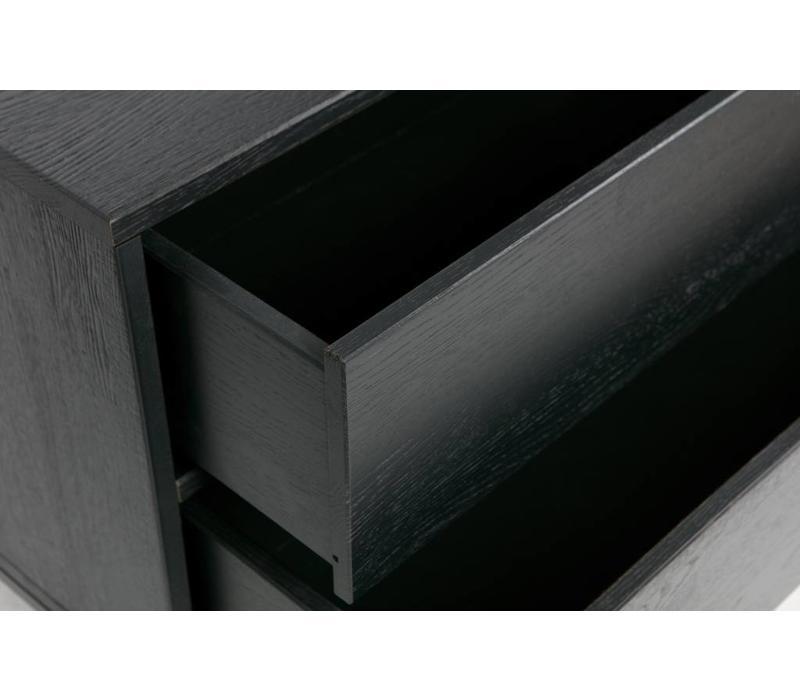 Silas TV kast - eiken geborsteld blacknight